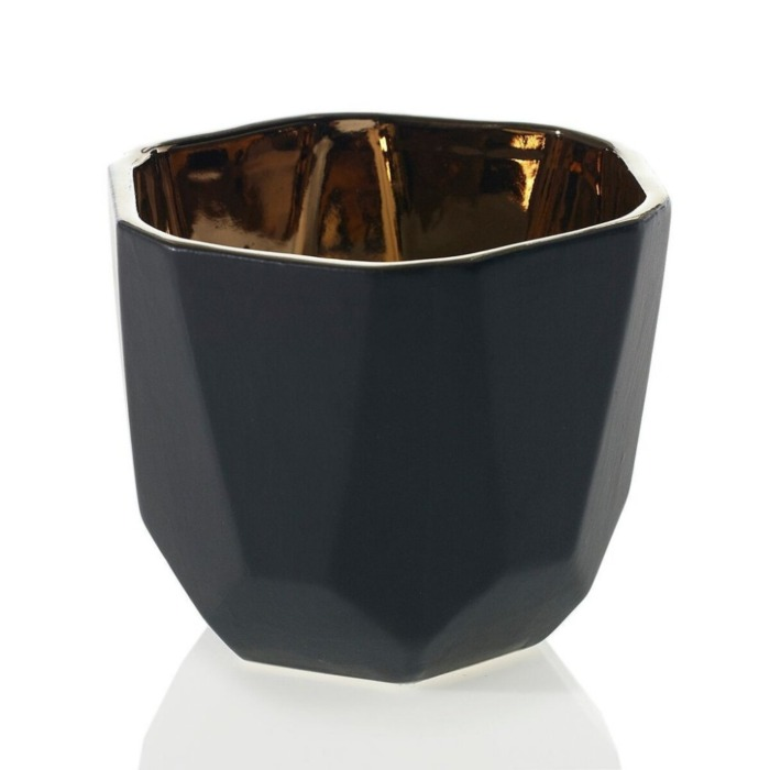black ceramic pot modern plant geometric