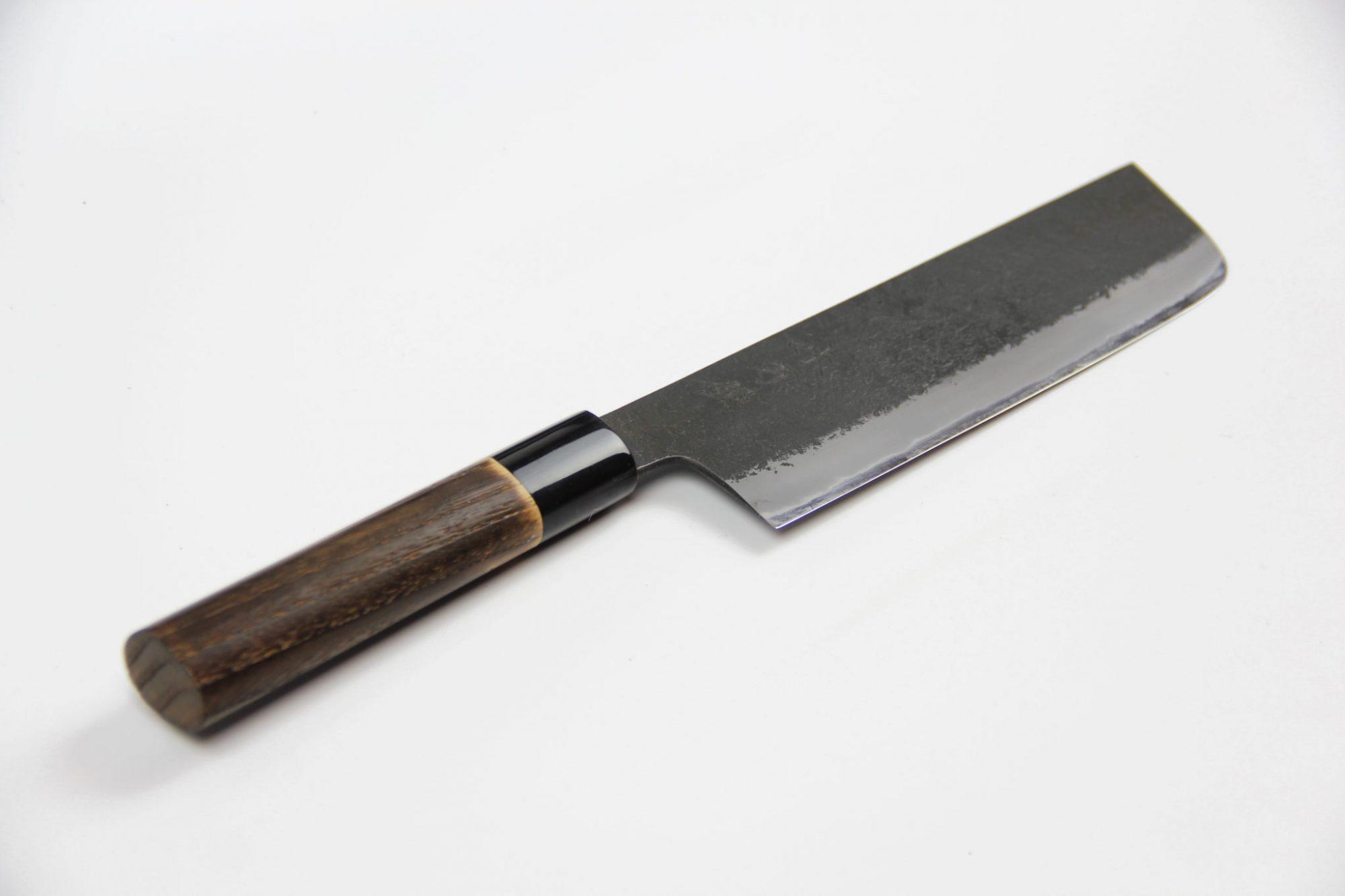 Mutsumi Hinoura Nashiji Nakiri 180mm Shirogami Iron Clad 2