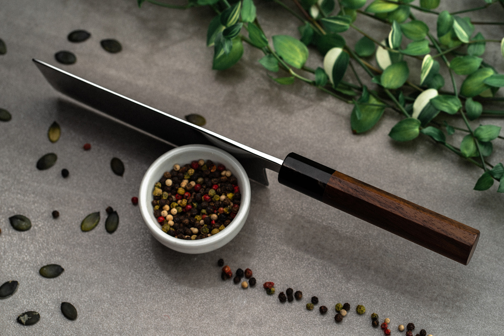 Tsukasa Hinoura Nakiri 165mm Polished Damascus Oval Rosewood W-Shinogi