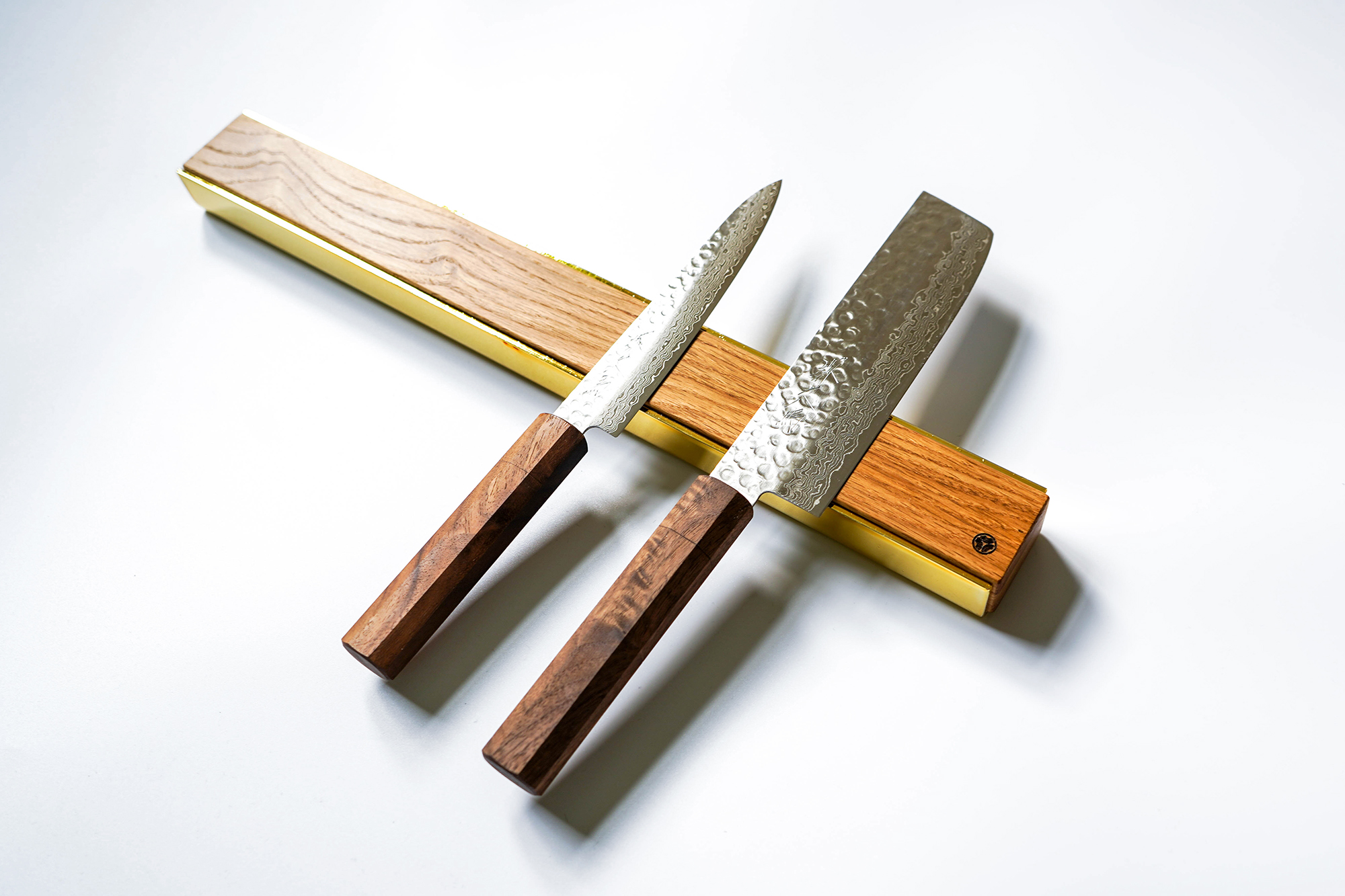 premium copper brass walnut oak knife magnetic strip rack 16
