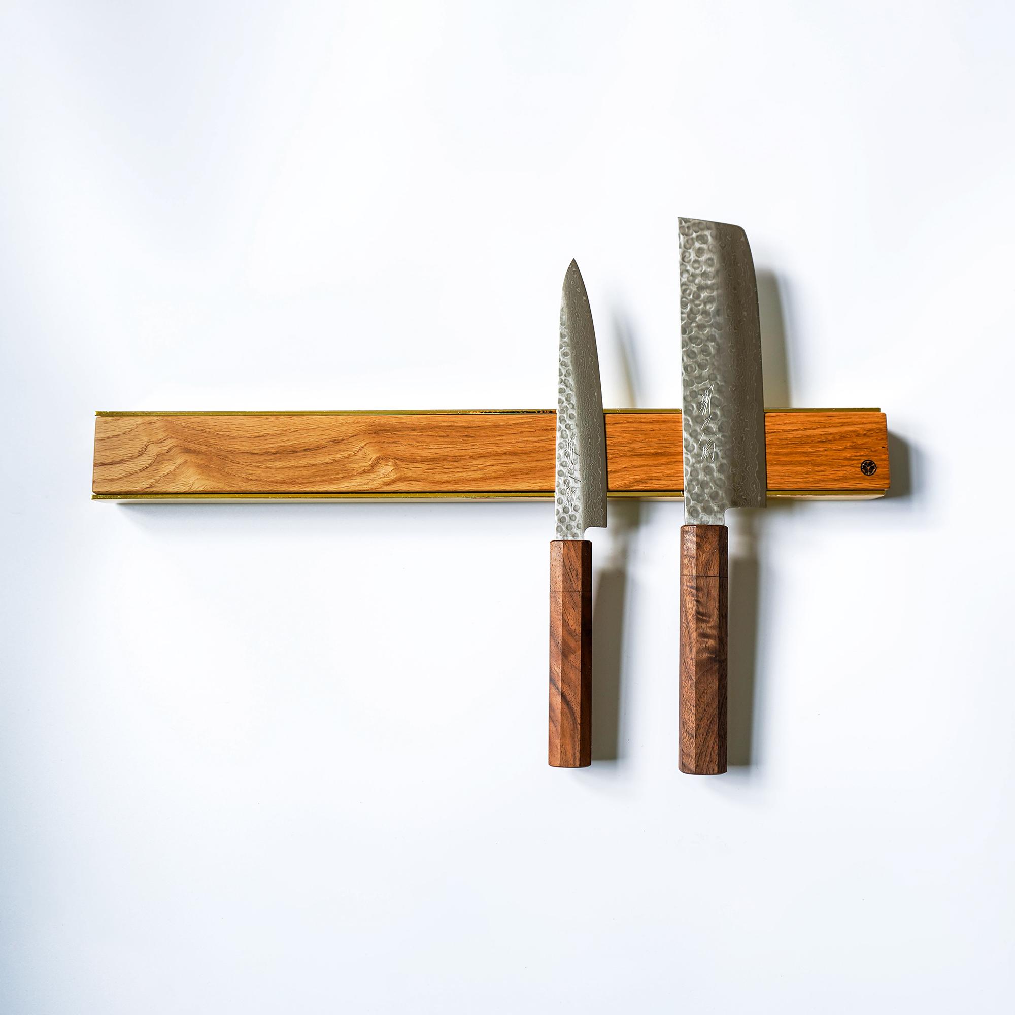 premium copper brass walnut oak knife magnetic strip rack 17