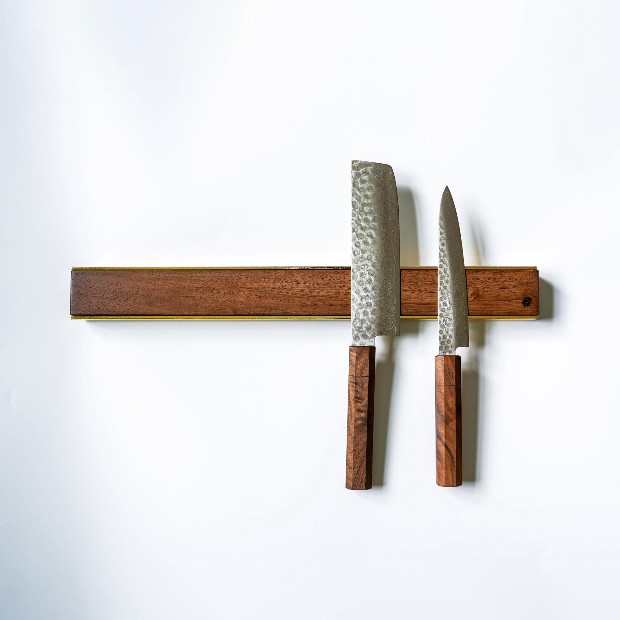 premium copper brass walnut oak knife magnetic strip rack 9