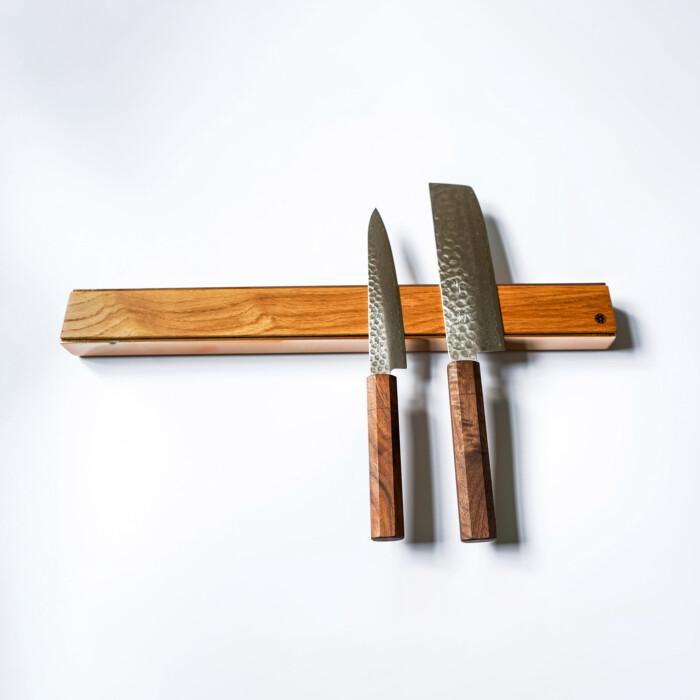 premium copper brass walnut oak knife magnetic strip rack 11