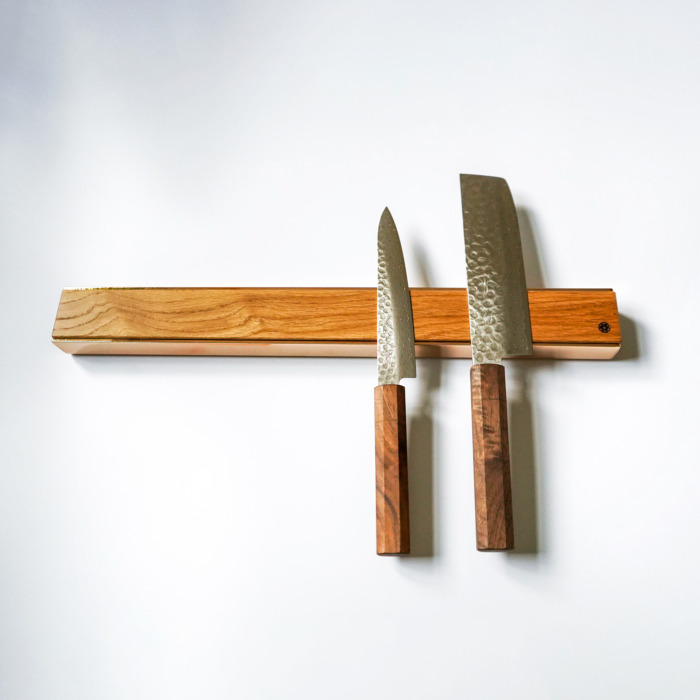 premium copper brass walnut oak knife magnetic strip rack 6