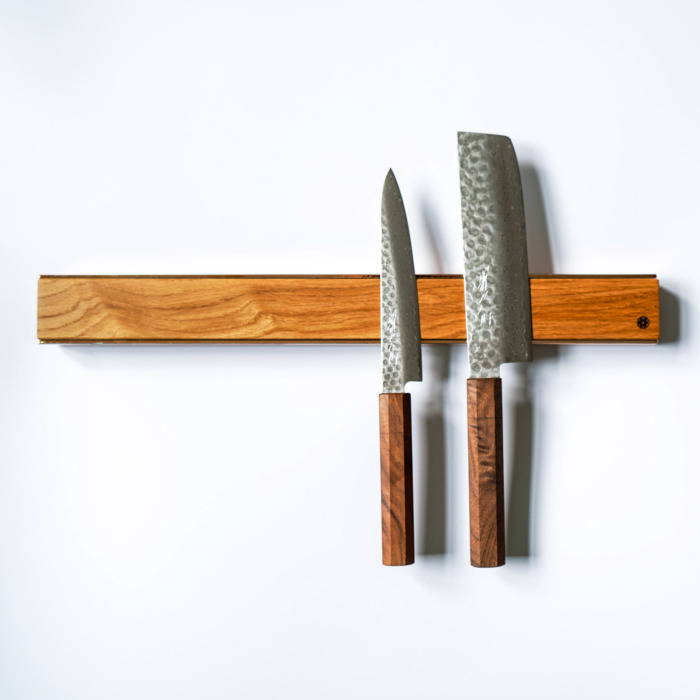 premium copper brass walnut oak knife magnetic strip rack 12