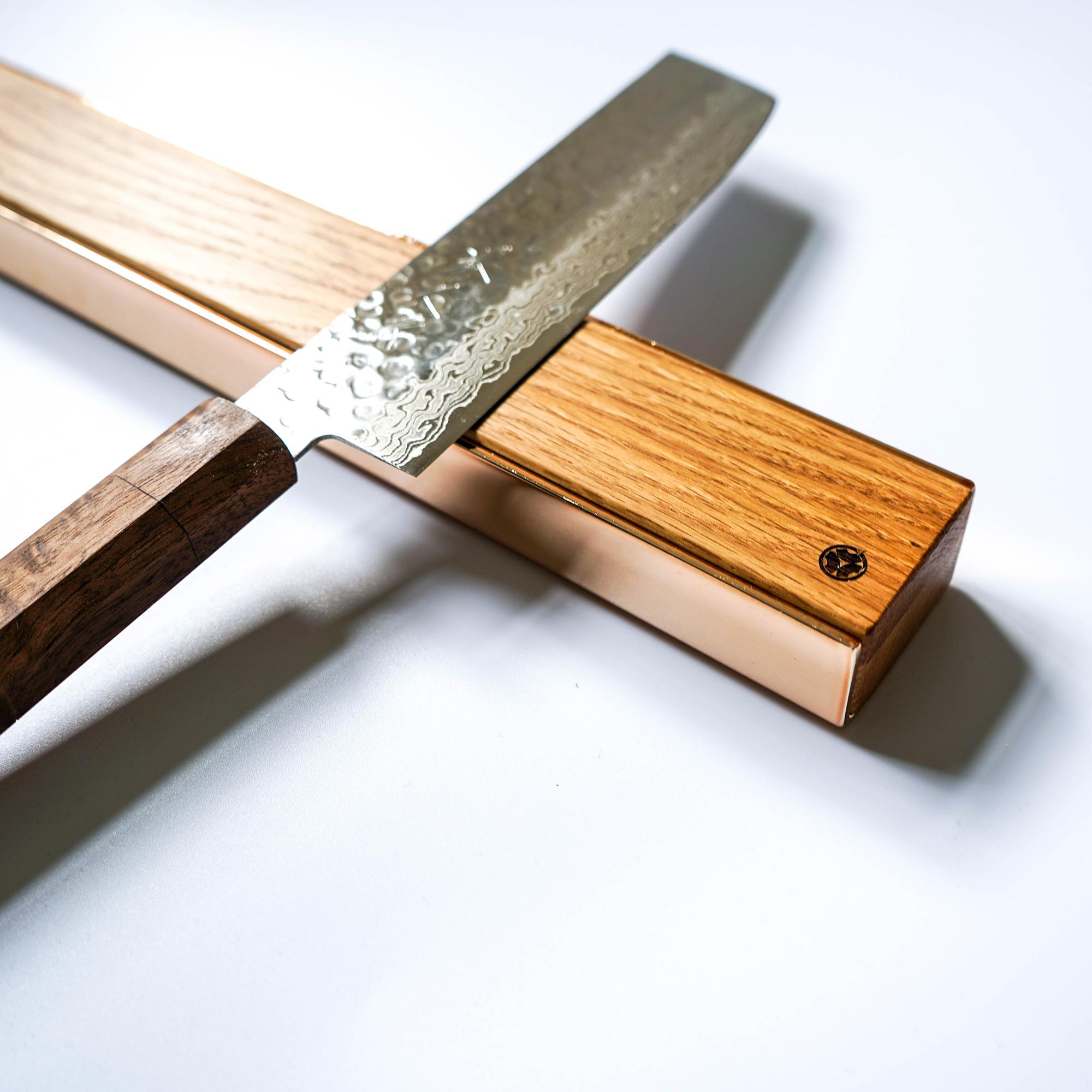 premium copper brass walnut oak knife magnetic strip rack 23