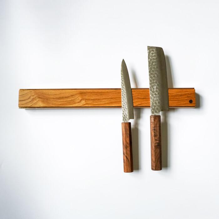 premium copper brass walnut oak knife magnetic strip rack 7