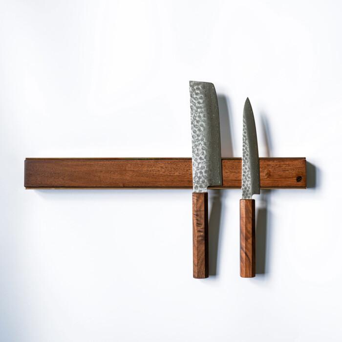 premium copper brass walnut oak knife magnetic strip rack 4