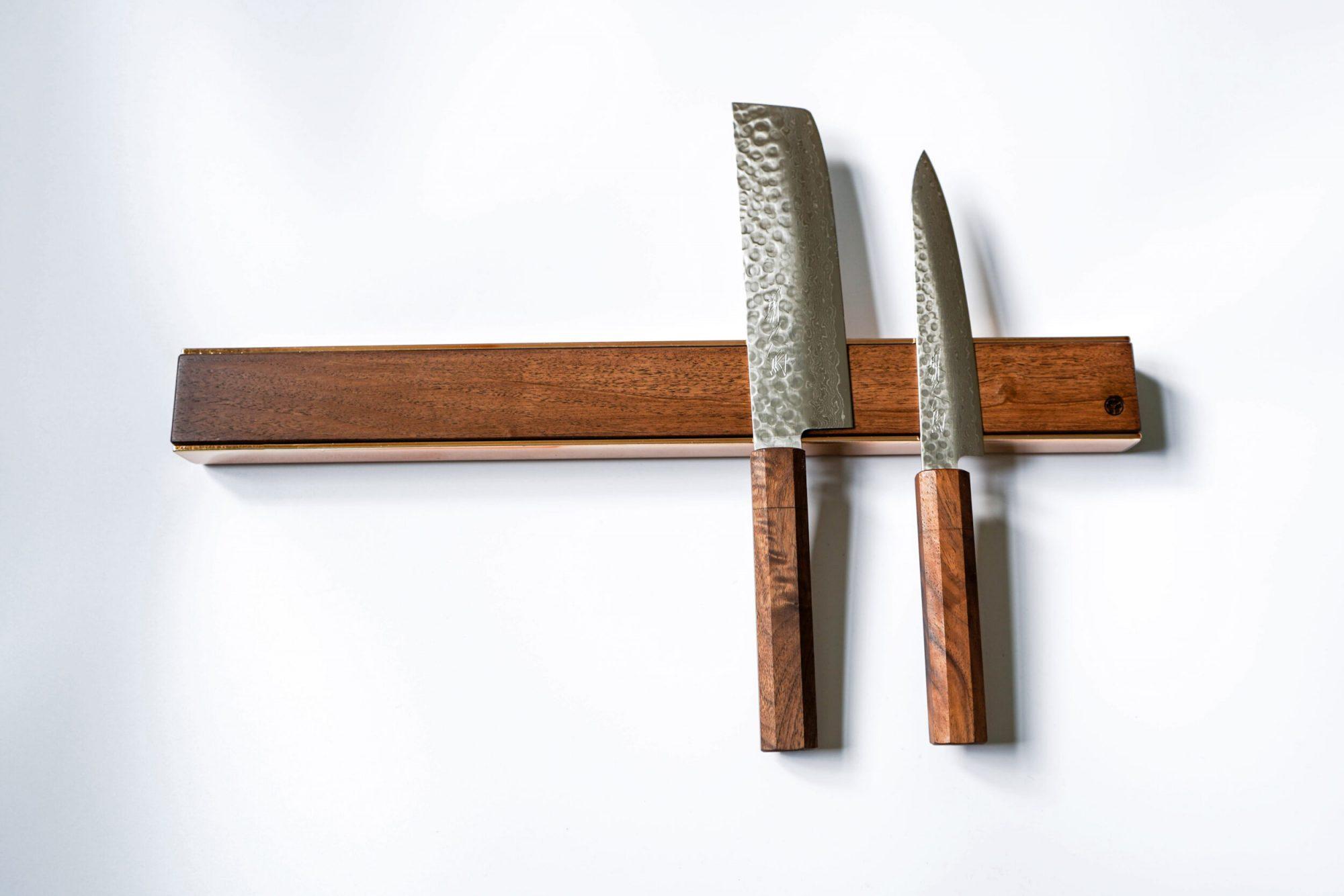 premium copper brass walnut oak knife magnetic strip rack 2