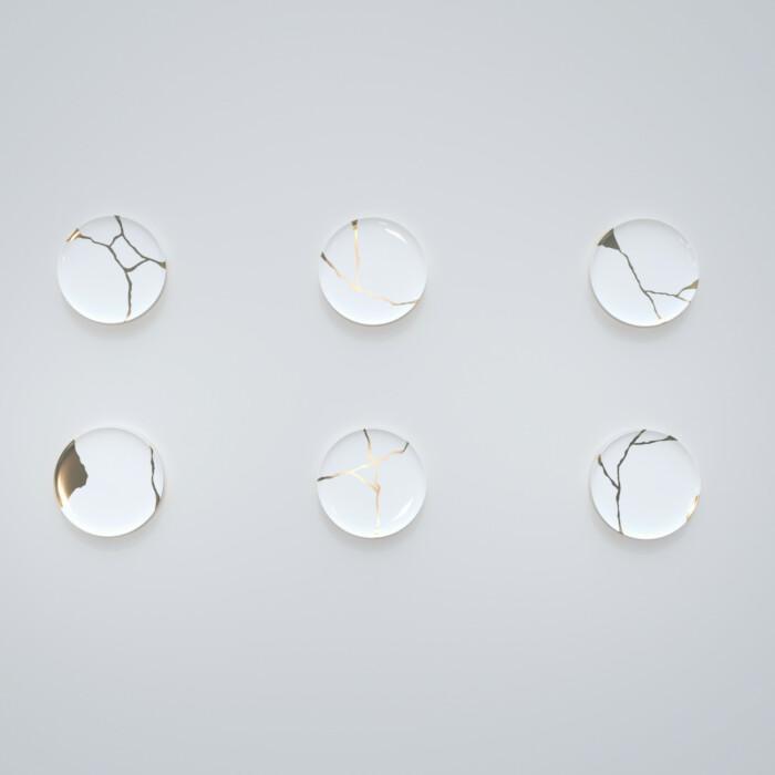 Kintsugi Collection Fine Bone China Porcelain Small Plates - Set Of 6