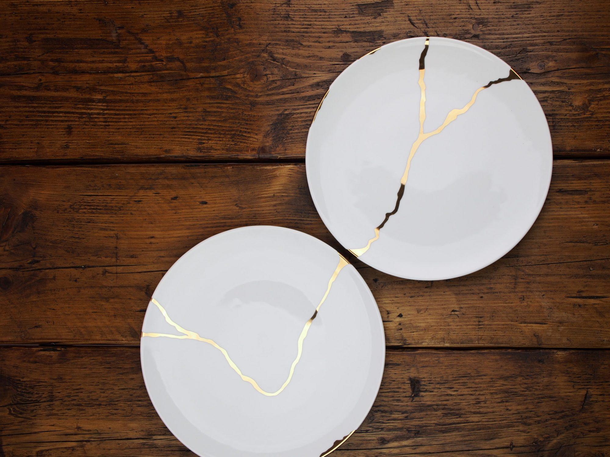 Japanese kintsugi dinnerware interior design porcelain bone