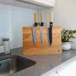 Solid Wood Magnetic Knife Stand Block oak walnut kitchen
