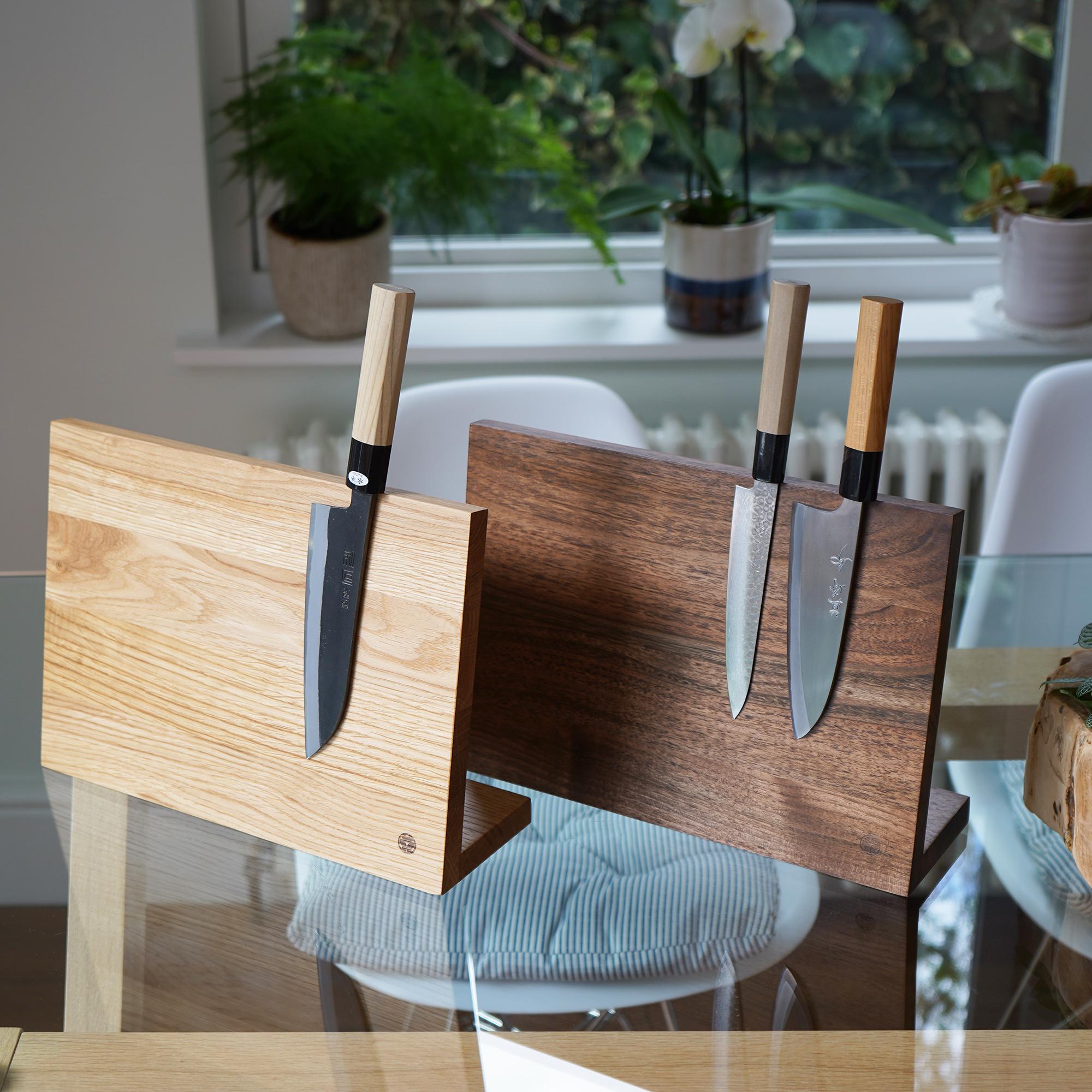 Solid Wood Magnetic Knife Stand Block walnut oak kitchenware