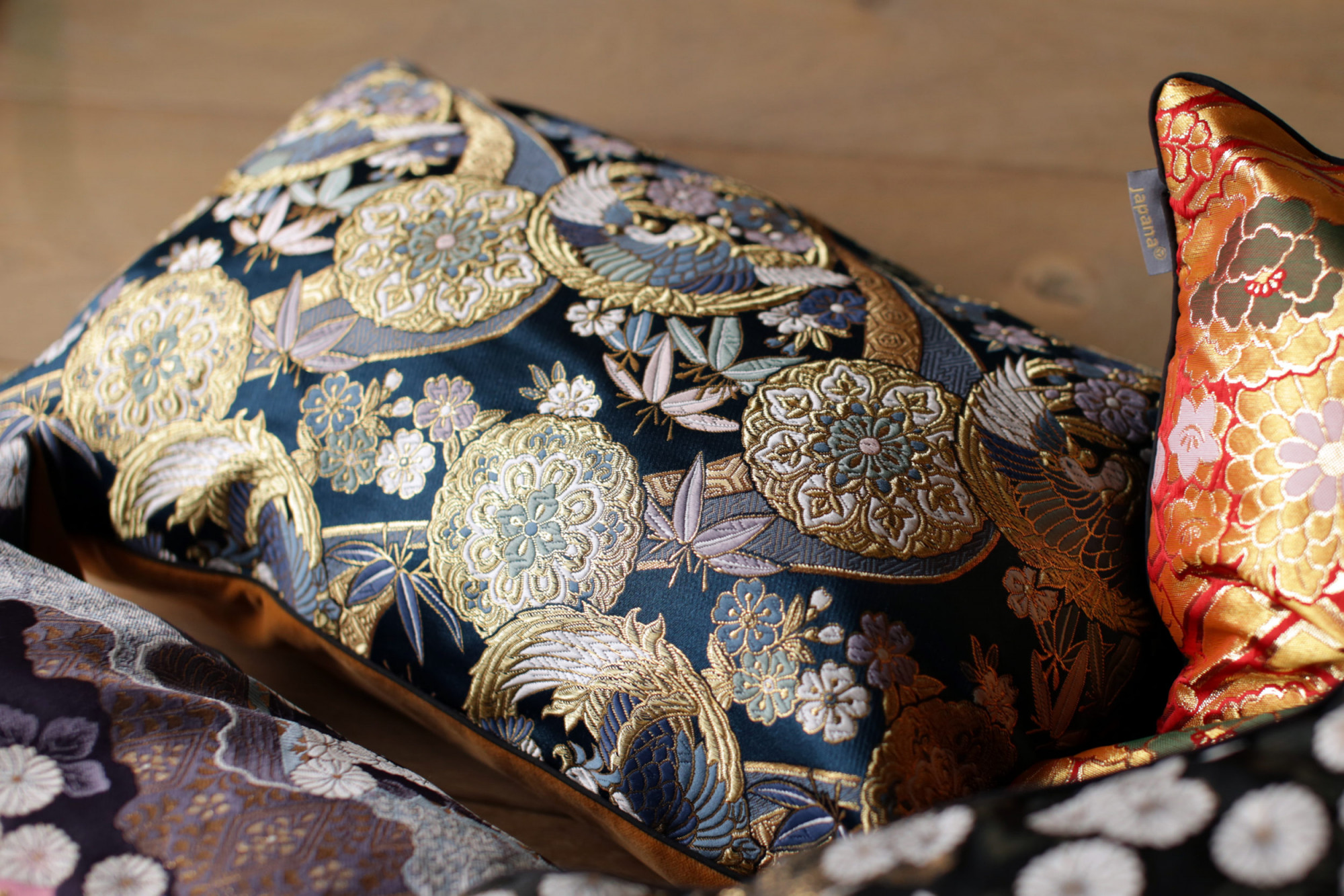 3 Japanese Kimono Silk Cushion Pillow Case luxury Limited Edition 2