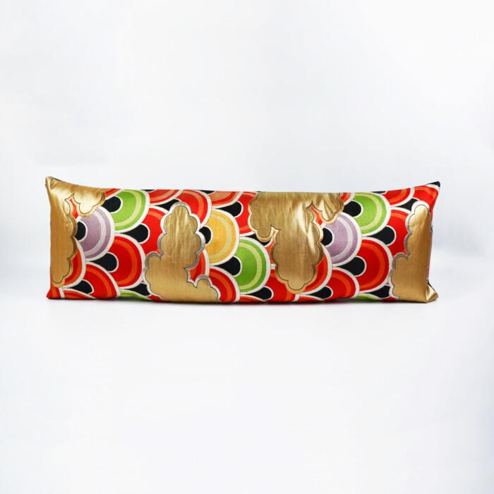 Bolster Cushion Cover Kimono Obi Silk, Gold Embroidery Vintage - Seigaiha Grand