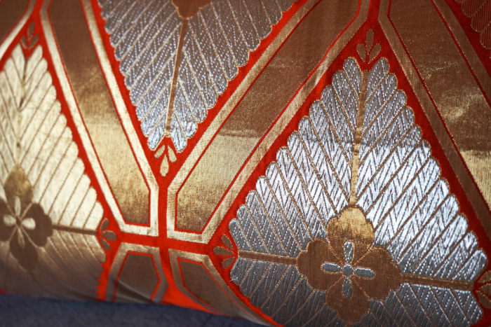 Cushion Cover Kimono Obi Silk, Gold Embroidery Vintage - KIKU III Med