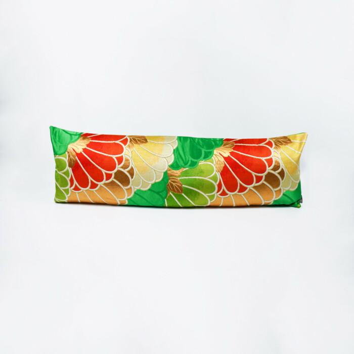 Bolster Cushion Cover Kimono Obi Silk, Gold Embroidery Vintage - Kiku Grand