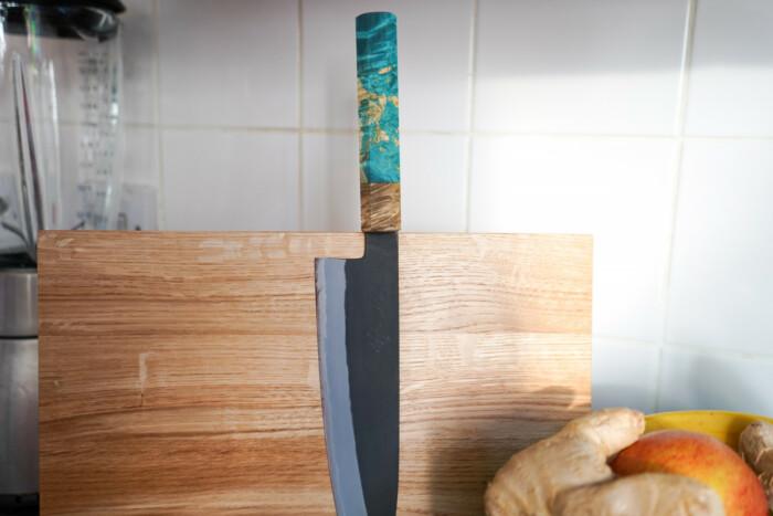 Mutsumi Hinoura Gyuto 210mm Shirogami Kurouchi Custom Japanese Knife