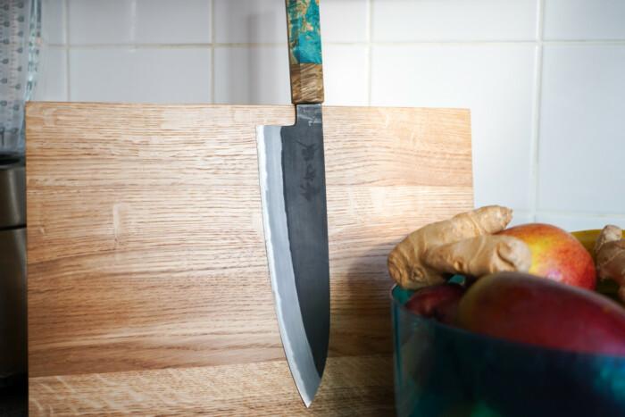 Mutsumi Hinoura Gyuto 210mm Shirogami Nashiji Kurouchi Custom Japanese Knife