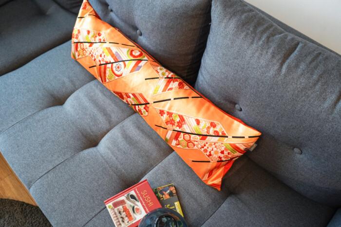 Bolster Cushion Cover Kimono Obi Silk, Gold Embroidery Vintage - Kiku 4