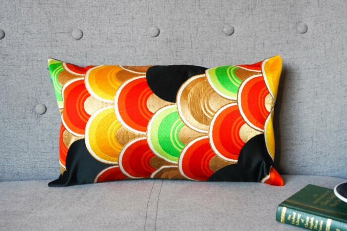 Cushion Cover Kimono Obi Silk Gold Embroidery Vintage - Seigaiha Med