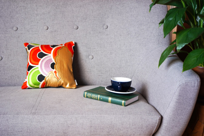 Bolster Cushion Cover Kimono Obi Silk, Gold Embroidery Vintage - Seigaiha Mini