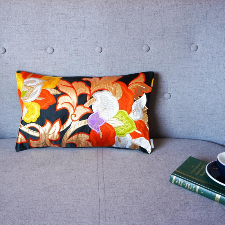 Cushion Cover Kimono Obi Silk Gold Embroidery Vintage - Lotus Med