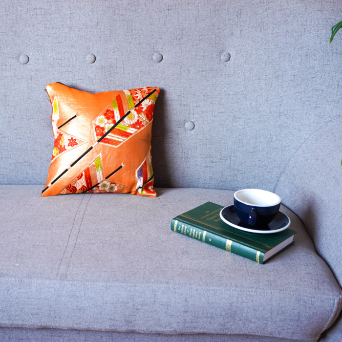 Cushion Cover Kimono Obi Silk Gold Embroidery Vintage - Kiku Orange Mini