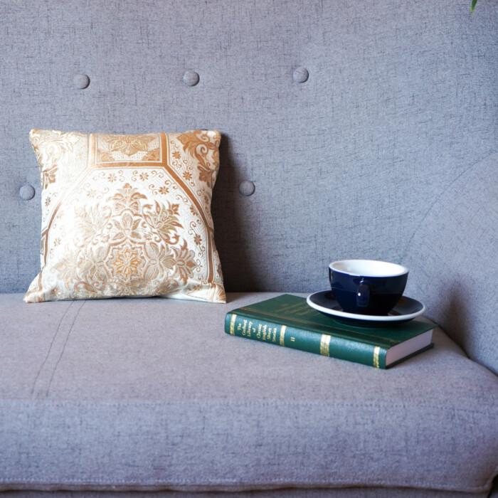 Cushion Cover Kimono Obi Silk Gold Embroidery Vintage - Kiku Gold Mini