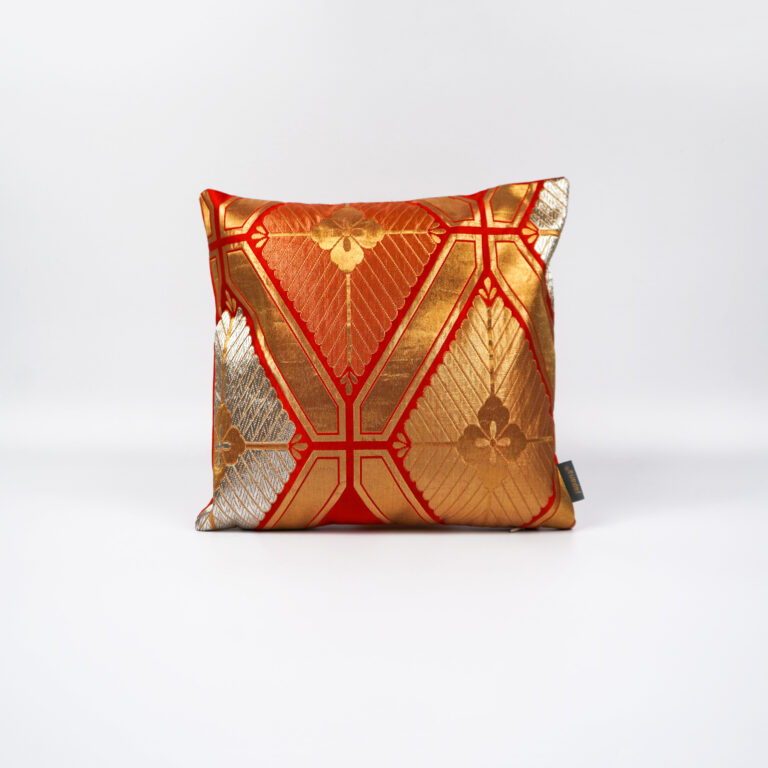 Cushion Cover Kimono Obi Silk, Gold Embroidery Vintage - Kiku III Mini