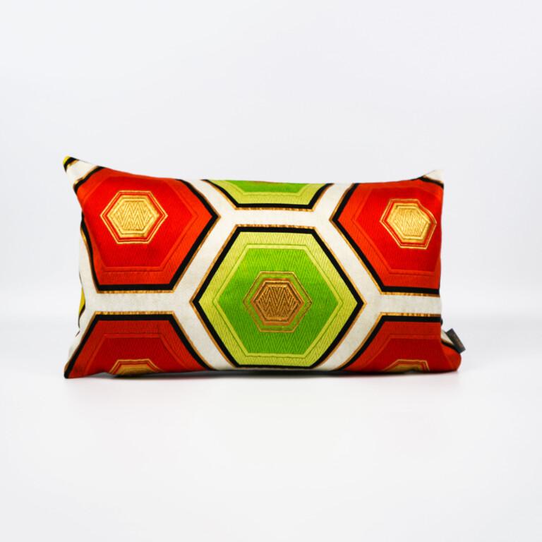 Bolster Cushion Cover Kimono Obi Silk, Gold Embroidery Vintage - Kikko Med