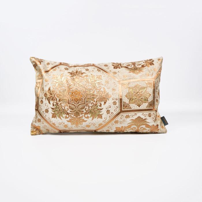 Cushion Cover Kimono Obi Silk Gold Embroidery Vintage - Kiku Gold Med