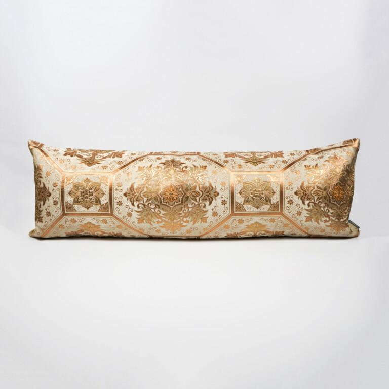 Bolster Cushion Cover Kimono Obi Silk Gold Embroidery Vintage - Kiku Gold