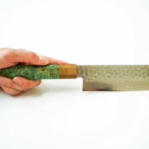Signature Japanese Kitchen Knives by Sakai Kyuba - Nakiri Veggie Knife 160mm Green