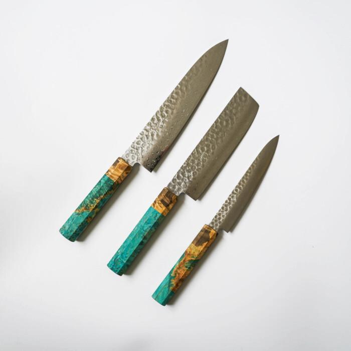Japanese Kitchen Knives Set by Sakai Kyuba in Blue