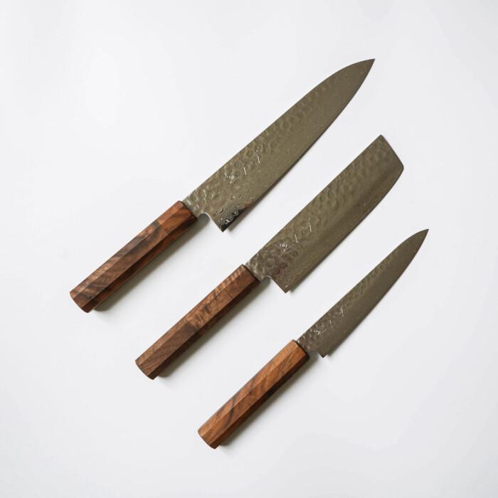 Japanese Kitchen Knives Set by Sakai Kyuba Brown Nakiri Gyuto Petty