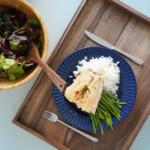 Dark Walnut Kitchen Tray with food