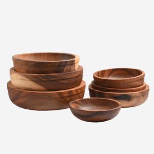 stacked Acacia wooden bowls many sizes