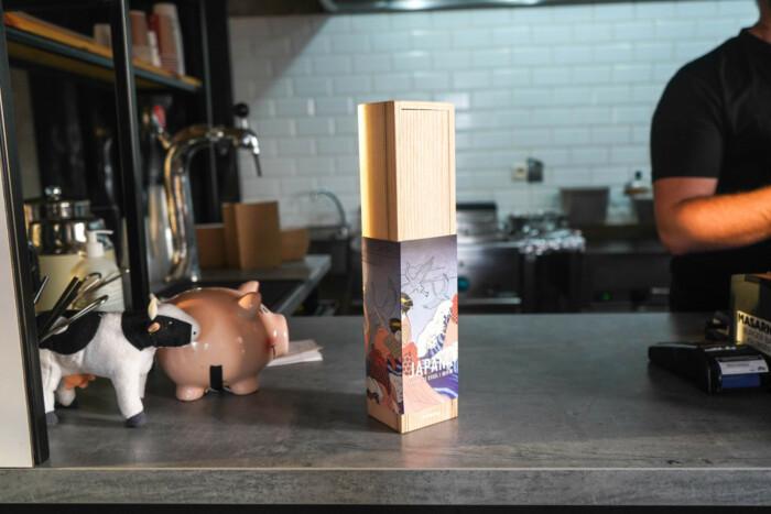 Sakai Kyuba knife box on restaurant counter