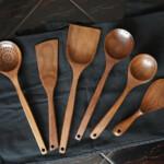 utensils set black cloth walnut wooden spoon spatula rice