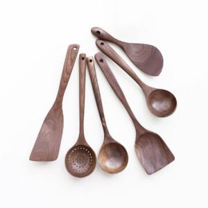 kitchen accessories walnut Wood set shovel colender soup spoon