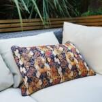 Japanese silk kimono cushion on sofa