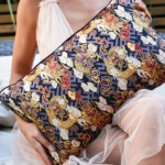 Japanese kimono cushion cover in a woman's hand