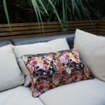 Japanese cushion on sofa colourful