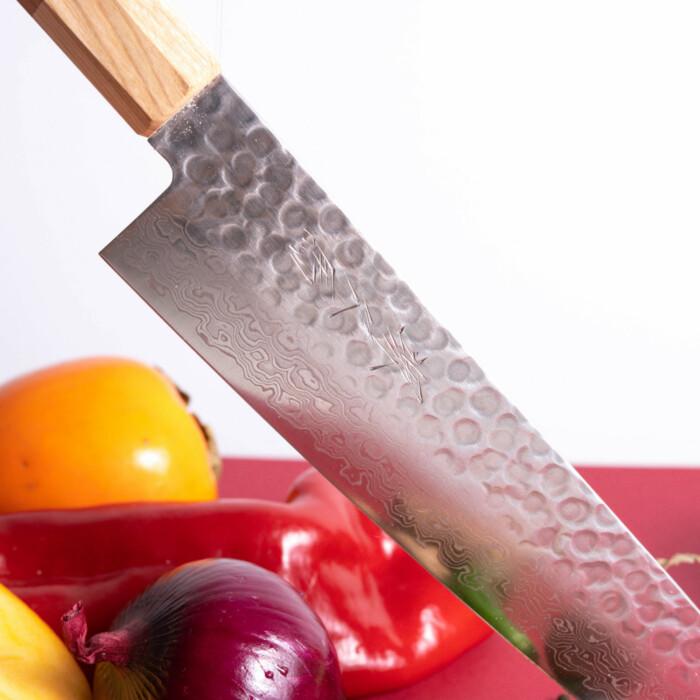 sakai kyuba kitchen knife damascus steel blade