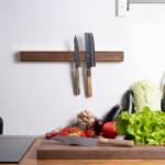 Messing Holz an der Wand montiert magnetische Küche Messerregal mit sakai kyuba Messern
