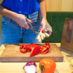 japanese kitchen scissors in action