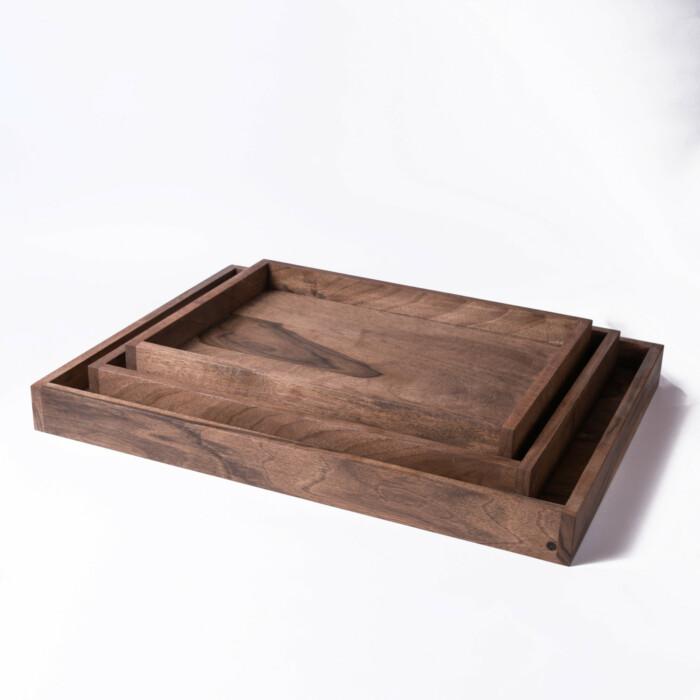 wooden coffee trays in walnut medium small large
