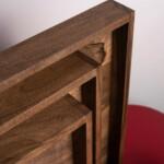 three walnut wooden coffee trays corners