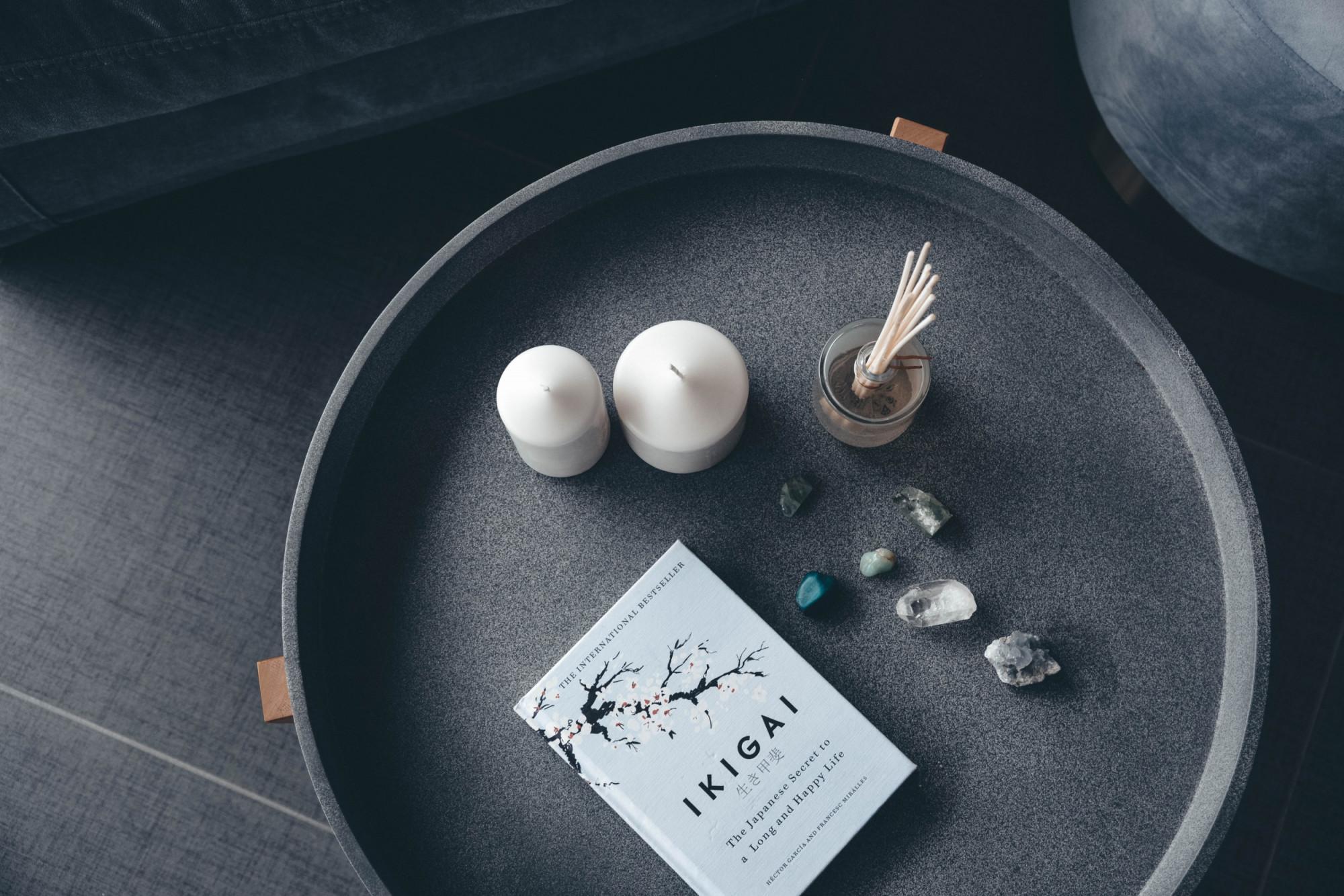 Ikigai book on table